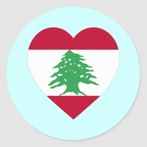 lebanon flag heart classic round sticker zazzle