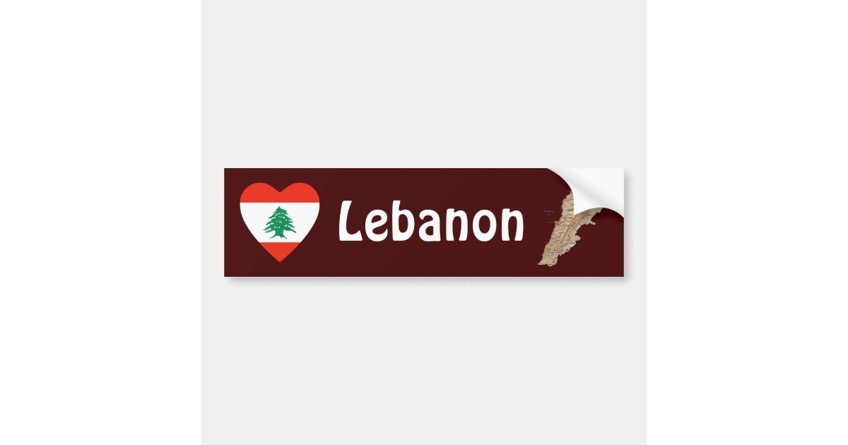 lebanon flag heart map bumper sticker zazzle