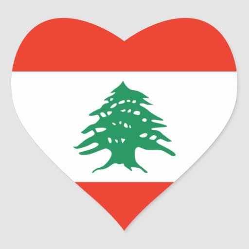 lebanon flag heart sticker zazzle