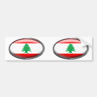 Lebanon Flag in Glass Oval Bumper Sticker