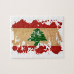 """Lebanon Flag Jigsaw Puzzle<br><div class=""""desc"""">Original flag design looks like it was painted on! Commemorate your world travels, celebrate your heritage or show everyone how much you love your home! This image is available on a variety of products. Check out all of our other designs at http://www.zazzle.com/zipperedflags Do you have a request or questions? Contact...</div>"""