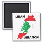 Lebanon Flag Map 2 Inch Square Magnet