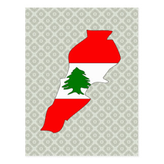 Lebanon Flag Map full size Postcard