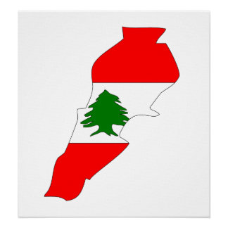 Lebanon Flag Map full size Poster