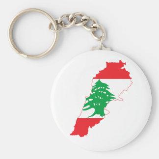 Lebanon Flag Map Basic Round Button Keychain