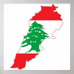 Lebanon Flag Map Poster