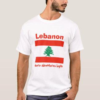 Lebanon Flag + Map + Text T-Shirt