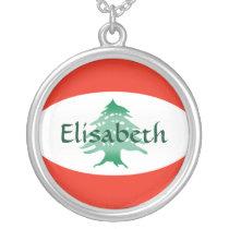 Lebanon Flag   Name Necklace