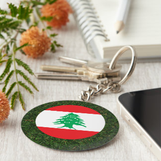 Lebanon Flag on Grass Basic Round Button Keychain