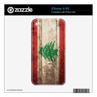 Lebanon Flag on Old Wood Grain iPhone 4 Decals