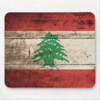 Lebanon Flag on Old Wood Grain Mouse Pad