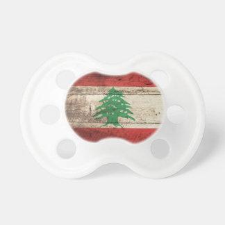 Lebanon Flag on Old Wood Grain Pacifier