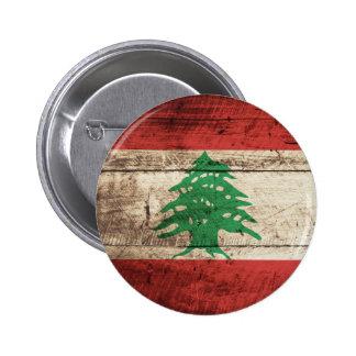 Lebanon Flag on Old Wood Grain Pinback Button