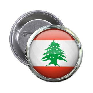 Lebanon Flag Round Glass Ball Pinback Button