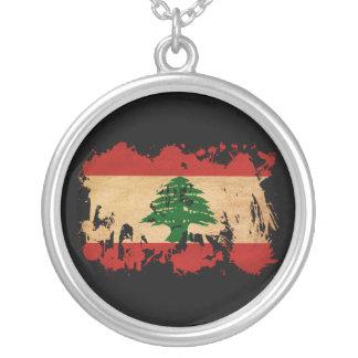 Lebanon Flag Round Pendant Necklace