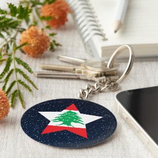 Lebanon Flag Star In Space Basic Round Button Keychain