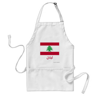 Lebanon Flag with Name in Arabic Adult Apron