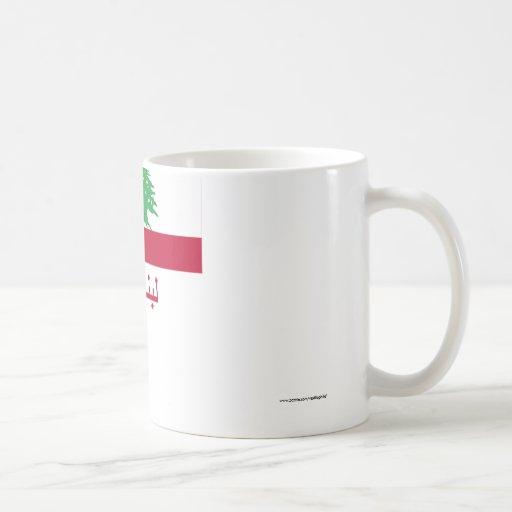 Lebanon Flag with Name in Arabic Classic White Coffee Mug