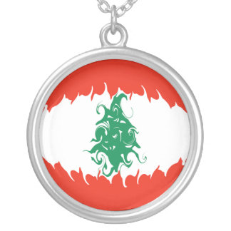 Lebanon Gnarly Flag Silver Plated Necklace