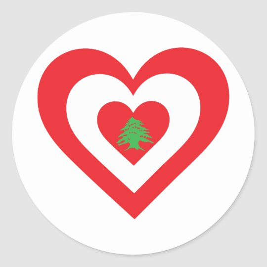 Lebanon Heart Classic Round Sticker