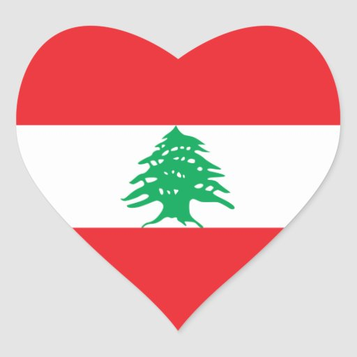 lebanonlebanese heart flag heart sticker zazzle
