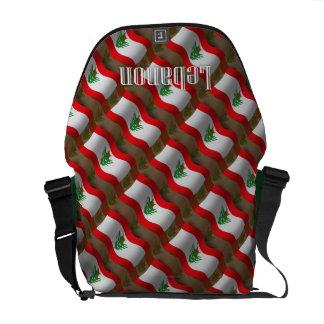 Lebanon Waving Flag Messenger Bags