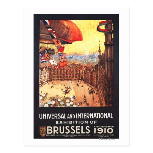 Lebaudy Airship with World Flags at Expo Postcard