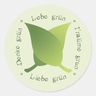 Lebe grün, liebe grün, träume grün, denke grün classic round sticker