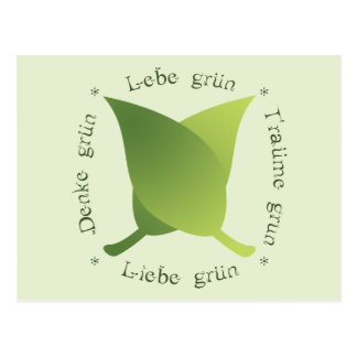 Lebe grün, liebe grün, träume grün, denke grün postcard