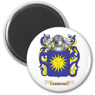Lebeau Coat of Arms (Family Crest) 2 Inch Round Magnet