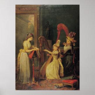 Lección de la arpa dada por señora de Genlis Póster