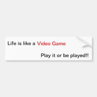 Lección de la vida del videojuego pegatina de parachoque