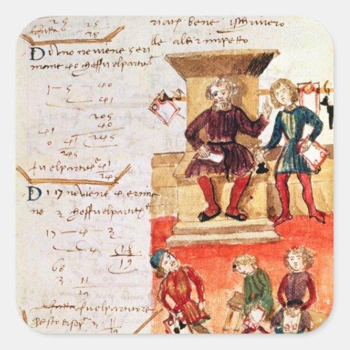 Lección de las matemáticas, de un tratado pegatina cuadrada