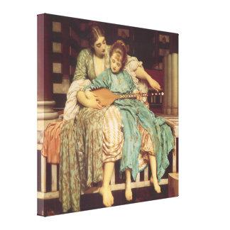 Lección de música por Leighton, arte del Victorian Impresiones En Lienzo Estiradas