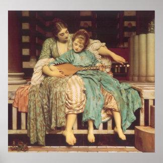Lección de música por Leighton, arte del Victorian Póster