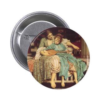 Lección de música por Leighton, arte del Victorian Pins