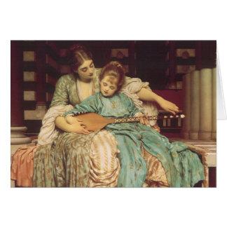 Lección de música por Leighton, arte del Victorian Tarjeta De Felicitación