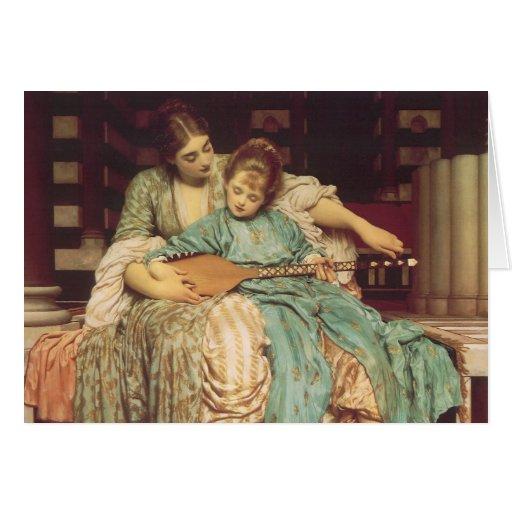 Lección de música por Leighton, arte del Victorian Tarjeta