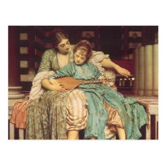 Lección de música por Leighton, arte del Victorian Postal