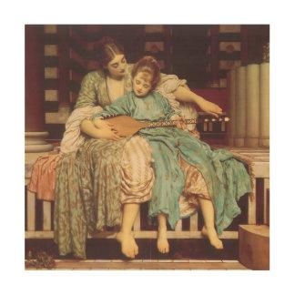 Lección de música por Leighton, arte del Victorian Impresión En Madera