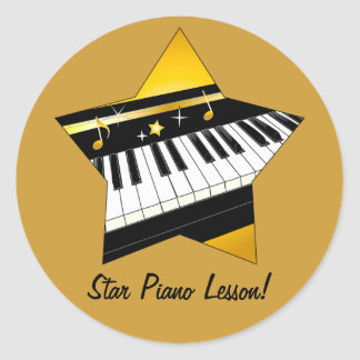 Lección de piano de la estrella al estudiante del pegatina redonda
