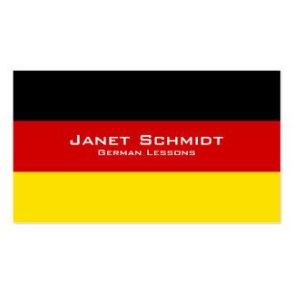 Lecciones alemanas/profesor alemán con la bandera tarjetas de visita