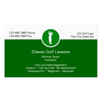 Lecciones de golf que entrenan a tarjetas de tarjeta de visita