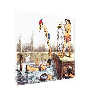 Lecciones de la natación impresión de lienzo