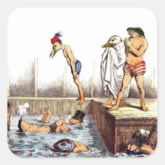 Lecciones de la natación pegatina cuadrada