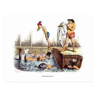 Lecciones de la natación tarjetas postales