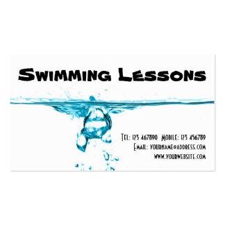 Lecciones de la natación tarjetas de visita