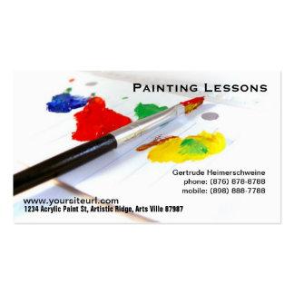 Lecciones de la pintura - brocha en la paleta de tarjetas de visita