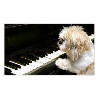 Lecciones de piano de Shih Tzu Tarjetas Personales