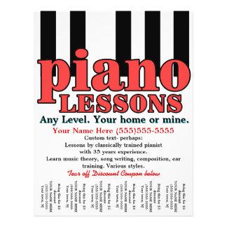 "Lecciones de piano. Profesor particular. Profesor  Folleto 8.5"" X 11"""